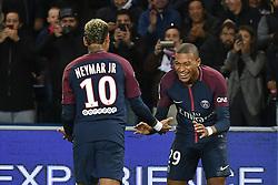Neymar Jr and Kylian Mbappe of PSG celebrate the second goal during the Ligue 1 match between Paris Saint Germain and Olympique Lyonnais at Parc des Princes on September 17, 2017 in Paris, France. Photo by Laurent Zabulon/ABACAPRESS.COM
