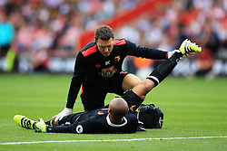 13 August 2016 - Premier League - Southampton v Watford - Watford goalkeeper Heurelho Gomes has his hamstring worked on by the club physio - Photo: Marc Atkins / Offside.