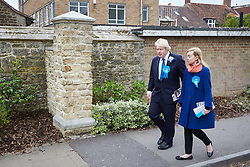 © Licensed to London News Pictures.  02/05/2015. ABINGDON, UK. Boris Johnson (left) walks with Nicola Blackwood (right) who is standing for re-election as MP for the Oxford West and Abingdon constituency.  Photo credit: Cliff Hide/LNP
