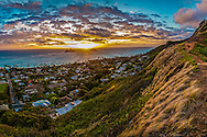 Sunrise behind the Mokulua Islands, Lanikai, Kailua Bay, Oahu, Hawaii