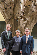 Sir Nicholas Serota, Lord Browne, Frances Morris,  in the Turbine Hall with Ai Weiwei?s 7-metre high sculpture of a treehe new Tate Modern will open to the public on Friday 17 June. The new Switch House building is designed by architects Herzog & de Meuron, who also designed the original conversion of the Bankside Power Station in 2000.