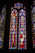 Stained glass window in Cathedral de Santa Maria de Leon in Leon, Castilla y Leon, Spain