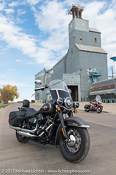Hog Magazine feature on the 2018 Harley-Davidson Heritage Classic with it's Milwaukee-8 engine in the new Softail frame and a 1949 Harley-Davidson EL Panhead from Carl's Cycle. Aberdeen, SD. USA. Sunday October 8, 2017. Photography ©2017 Michael Lichter.