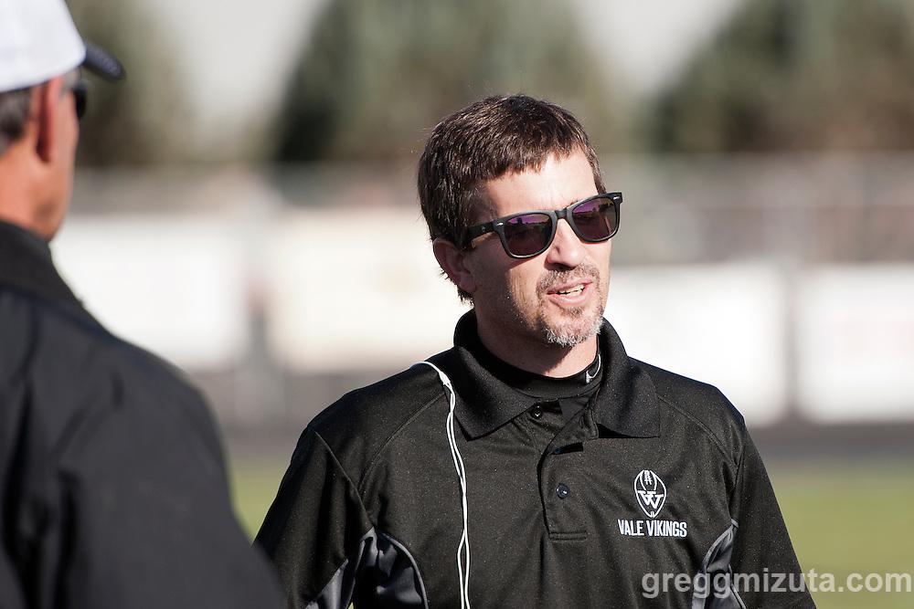 Vale coach Jeff Jacobs. Vale - Cascade Christian 3A quarterfinal playoff game at Frank Hawley Stadium, Vale, Oregon, Saturday, November 14, 2015. Vale won 48-38.