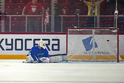 Gasper Kroselj of Slovenia looking for a puck in a goal during Ice Hockey match between National Teams of Slovenia and Poland in Round #2 of 2018 IIHF Ice Hockey World Championship Division I Group A, on April 23, 2018 in Budapest, Hungary. Photo by David Balogh / Sportida