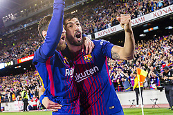 May 6, 2018 - Barcelona, Catalonia, Spain - FC Barcelona forward Lionel Messi (10) celebrates scoring the goal with FC Barcelona forward Luis Suarez (9) during the match between FC Barcelona v Real Madrid, for the round 36 of the Liga Santander, played at Camp nou  on 6th May 2018 in Barcelona, Spain. (Credit Image: © Urbanandsport/NurPhoto via ZUMA Press)