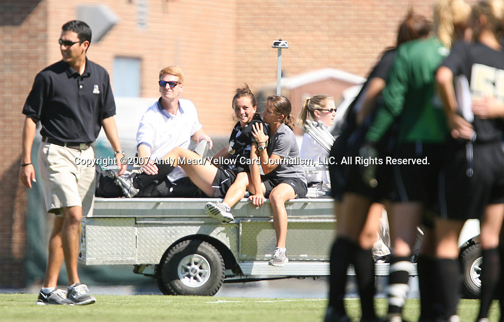 14 October 2007: Wake Forest's Amanda Lebo (on cart) is driven off the field after suffering a game ending injury to her right leg. The University of North Carolina Tar Heels defeated the Wake Forest University Demon Deacons 1-0 at Fetzer Field in Chapel Hill, North Carolina in an Atlantic Coast Conference NCAA Division I Womens Soccer game.