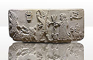 """Photo of Neo-Hittite orthostat from Karkamis, Turkey. Museum of Anatolian Civilisations, Ankara.  The meeting of the """"Storm God"""" on right and a King on the left. 4"""