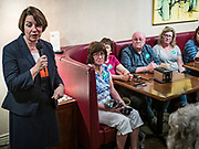 25 MAY 2019 - IOWA FALLS, IOWA: US Senator AMY KLOBUCHAR (D-MN), talks to a crowd of about 75 people in a campaign event in Iowa Falls. Sen. Klobuchar is touring Iowa this weekend to support her bid to be the Democratic nominee in 2020 for the US Presidency. Iowa traditionally hosts the the first election event of the presidential election cycle. The Iowa Caucuses will be on Feb. 3, 2020.         PHOTO BY JACK KURTZ