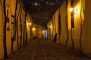 Historic cobbled street Calle Ciegos lit in evening, Gonzalez Byass bodega, Jerez de la Frontera, Spain
