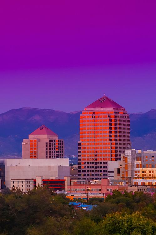 Skyline of downtown Albuquerque (at twilight), New Mexico USA