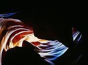 Wild scenery looking toward roof of Upper Antelope Canyon, Navajo Reservation, Arizona.