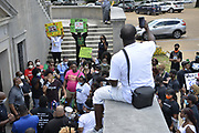 6/5/2020 Jackson MS. Protestors gather across the street from the Mississippi State Capitol at Attorney General Lynn Fitch office. Fitch recently dropped all charges against the Mississippi police officers in the murder of African American Ricky Ball. The protestors then walked to the Capitol and tried to delivery a list of their demands, and were denied entrance by Capitol police.The protest in Jackson was organized by the Poor People's Campaign and other organizations because manslaughter charges against police were dropped in the murder of Ricky Ball of Columbus MS.<br />