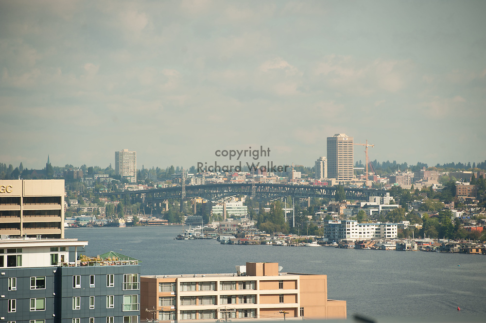 2017 SEPTEMBER 22 - View of Lake Union and the Ship Canal Bridege in the distance in Seattle, WA, USA. By Richard Walker
