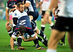 Stefan Terblanche (Sharks).Ged Robinson (Rebels).Melbourne Rebels v The Sharks.Rugby Union - 2011 Super Rugby.AAMI Park, Melbourne VIC Australia.Friday, 11 March 2011.© Sport the library / Jeff Crow