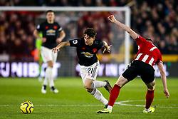 Daniel James of Manchester United takes on John Lundstram of Sheffield United - Mandatory by-line: Robbie Stephenson/JMP - 24/11/2019 - FOOTBALL - Bramall Lane - Sheffield, England - Sheffield United v Manchester United - Premier League