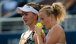 September 5, 2018 - Barbora Krejcikova & Katerina Siniakova of the Czech Republic playing doubles at the 2018 US Open Grand Slam tennis tournament. New York, USA. September 05, 2018. (Credit Image: © AFP7 via ZUMA Wire)