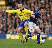 Photo. Aidan Ellis.<br /> Everton v Birmingham City.<br /> FA Barclaycard Premiership.<br /> 28/12/2003.<br /> Everton's Gary Naysmith and Birmingham's Mikael Forssell
