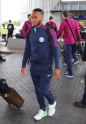 Raheem Sterling as the Manchester City team arrive at Manchester Airport as they jet for Iceland