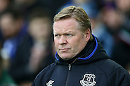 Everton Manager Ronald Koeman looks on from the dugout. Premier league match, Everton v Sunderland at Goodison Park in Liverpool, Merseyside on Saturday 25th February 2017.<br /> pic by Chris Stading, Andrew Orchard sports photography.