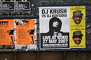 Posters for music events London 2007, England. DJ Krush.