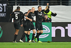 FRANKFURT May 3, 2019  Players of Frankfurt celebrate after scoring during the UEFA Europa League semifinal first leg match between Eintracht Frankfurt and Chelsea FC in Frankfurt, Germany, on May 2, 2019. The match ended in a 1-1 draw. (Credit Image: © Ulrich Hufnagel/Xinhua via ZUMA Wire)