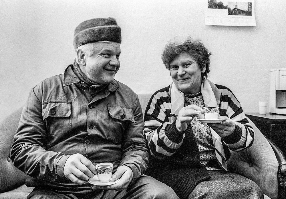 Hungarian couple having coffee in their home, Korod, Croatia, 1998