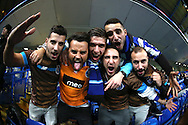A group of Porto fans cheering before k/o. UEFA Champions league group G match, Chelsea v Porto at Stamford Bridge in London on Wednesday 9th December 2015.<br /> pic by John Patrick Fletcher, Andrew Orchard sports photography.