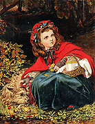 'Little Red Riding Hood'' or ''Little Red Cap''  fairy tale first published in 1697 by Charles Perrault (1628-1703) French writer. Chromolithograph c1890.