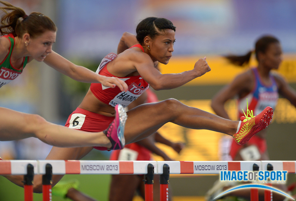 Aug 17, 2013; Moscow, RUSSIA; Queen Harrison (USA) places fifth in the womens 100m hurdles in 12.73 in the 14th IAAF World Championships in Athletics at Luzhniki Stadium.
