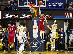 Nov 28, 2018; Morgantown, WV, USA; Rider Broncs guard Stevie Jordan (23) shoots during the second half against the West Virginia Mountaineers at WVU Coliseum. Mandatory Credit: Ben Queen-USA TODAY Sports