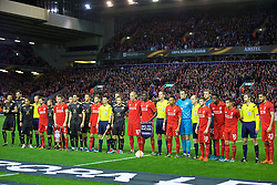 LIVERPOOL, ENGLAND - Thursday, October 22, 2015: Liverpool and Rubin Kazan players come together for a UEFA no to racism team group photograph before the UEFA Europa League Group Stage Group B match at Anfield. (Pic by David Rawcliffe/Propaganda)