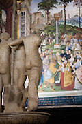 Sculptures inside the Piccolomini Library in the Duomo of Siena, Tuscany, Italy.