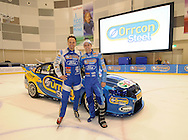 Gold Medalist Steven Bradbury, with FPR Boss Tim Edwards and Mark Winterbottom at Ford Performance Racing unveiling of its #5 Orrcon Steel FPR Falcon..Medibank Icehouse, Docklands, Melbourne.20th of January 2012.(C) Joel Strickland Photographics.Use information: This image is intended for Editorial use only (e.g. news or commentary, print or electronic). Any commercial or promotional use requires additional clearance.