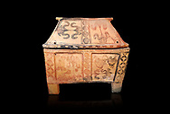 Minoan  pottery gabled larnax coffin chest with bird and papyrus decorations,   1300-1200 BC, Heraklion Archaeological  Museum, black background. .<br /> <br /> If you prefer to buy from our ALAMY PHOTO LIBRARY  Collection visit : https://www.alamy.com/portfolio/paul-williams-funkystock/minoan-art-artefacts.html . Type -   Heraklion   - into the LOWER SEARCH WITHIN GALLERY box. Refine search by adding background colour, place, museum etc<br /> <br /> Visit our MINOAN ART PHOTO COLLECTIONS for more photos to download  as wall art prints https://funkystock.photoshelter.com/gallery-collection/Ancient-Minoans-Art-Artefacts-Antiquities-Historic-Places-Pictures-Images-of/C0000ricT2SU_M9w