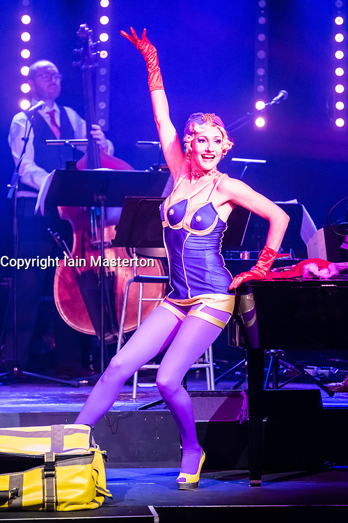 Edinburgh, Scotland, United Kingdom. 21November, 2017. Cabaret group Le Clique present their Christmas show Le Clique Noel at the Spiegeltent in Edinburgh as part of the city's annual Christmas festivities. Leah Shelton performs her suitcase routine.