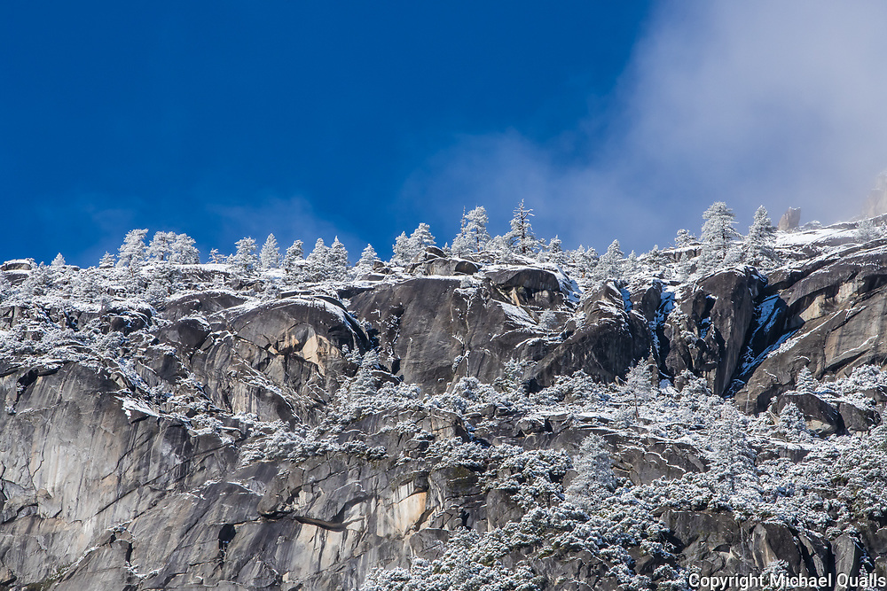 First Snow and Ice on the Yosemite Valley Canyon Wall