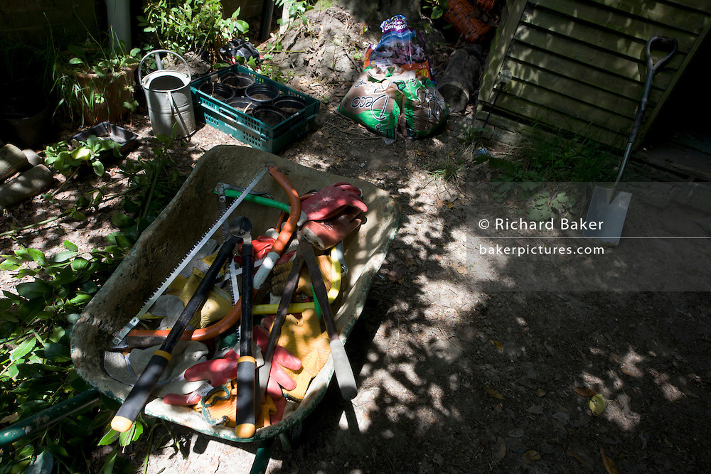 Volunteers' gardening tools at the Rivendell Buddhist Retreat Centre, East Sussex, England.
