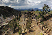 There is a beautiful short hike along the Yellowstone Canyon, starting along the road to Lamar Valley. There are some great views down into the canyon and impressive basalt columns