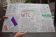 at a rally to find out the truth about September 11th held on 10th anniversary of the 9/11 attacks on the World Trade Center towers across from St Paul's Chapel near ground zero. The 9/11 Truth Movement started in 2006 by family members who want answers about what happened on 9/11and have staged rallies at Ground Zero every year on 9/11.