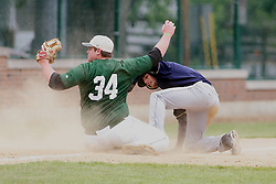 28 April 2012:  Kurt Schmidt slides into third base on a triple that goes past the left fielder and the throw is high to Kevin Callahan during an NCAA division 3 Baseball game between the Augustana Vikings and the Illinois Wesleyan Titans in Jack Horenberger Stadium, Bloomington IL