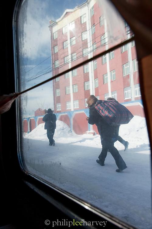 On the BAM Railway (Railway Baikal-Amur Mainline) Severobaikal Station, Siberia. Russia
