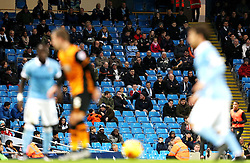 Empty seats during play at the Etihad Stadium - Mandatory byline: Matt McNulty/JMP - 01/12/2015 - Football - Etihad Stadium - Manchester, England - Manchester City v Hull City - Capital One Cup - Quarter-final