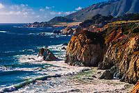 The rugged Big Sur coastline along Highway 1, between Carmel Highlands and Big Sur, Monterey County, California USA.