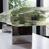 """VENICE, ITALY - JUNE 01:  """"Water Block"""" by Tokujin Yoshioka at the Glasstress Exhibition  where international artists match their talents with the use of glass on June 1, 2011 in Venice, Italy. This year's Biennale is the 54th edition and will run from June 4th until 27 November."""