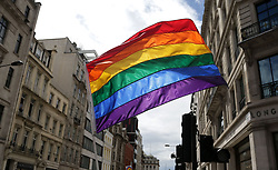 """File photo dated 25/6/2016 of a rainbow flag. The Foreign Office travel advice warned that public attitudes are """"less tolerant"""" than in the UK, while the Football SupportersÕ Federation (FSF) fan guide said the issue had been a """"topic of taboo"""" for the authorities in the build up to the tournament."""