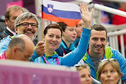 Roman Jakic, Katarina Tonin and Uros Okoren when Damjan Pavlin of Slovenia competes in the Men's R5-10m Air Rifle Prone shooting Final during Day 4 of the Summer Paralympic Games London 2012 on September 1, 2012, in Royal Artillery Barracks, London, Great Britain. (Photo by Vid Ponikvar / Sportida.com)