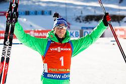 Simon Schempp (GER) celebrates during Men 12,5 km Pursuit at day 3 of IBU Biathlon World Cup 2015/16 Pokljuka, on December 19, 2015 in Rudno polje, Pokljuka, Slovenia. Photo by Vid Ponikvar / Sportida