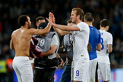 Goalscorer Andros Townsend of England is congratulated by Harry Kane (R) as the match ends 1-1 - Photo mandatory by-line: Rogan Thomson/JMP - 07966 386802 - 31/03/2015 - SPORT - FOOTBALL - Turin, Italy - Juventus Stadium - Italy v England - FIFA International Friendly Match.