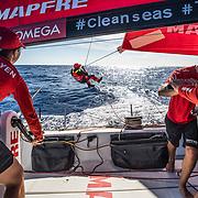 Leg 8 from Itajai to Newport, day 06 on board MAPFRE, Antonio Cuervas-Mons at the sail, Tamara, Xabi and Blair grinding him. 27 April, 2018.